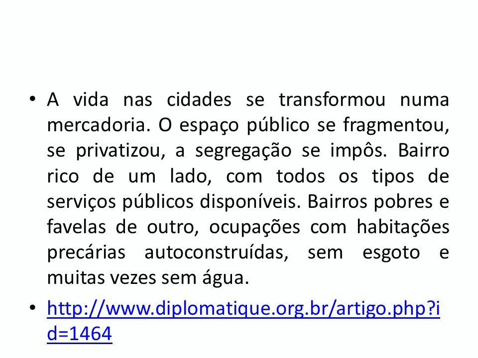 Se o ritmo de venda de veículos continuar como está, as frotas deverão dobrar até 2025; - Entre 1992 e 2008, o tempo médio de deslocamento entre casa e trabalho da população das dez principais regiões metropolitanas do país subiu aproximadamente 6%; - O Brasil tem poucos trens e metrôs.