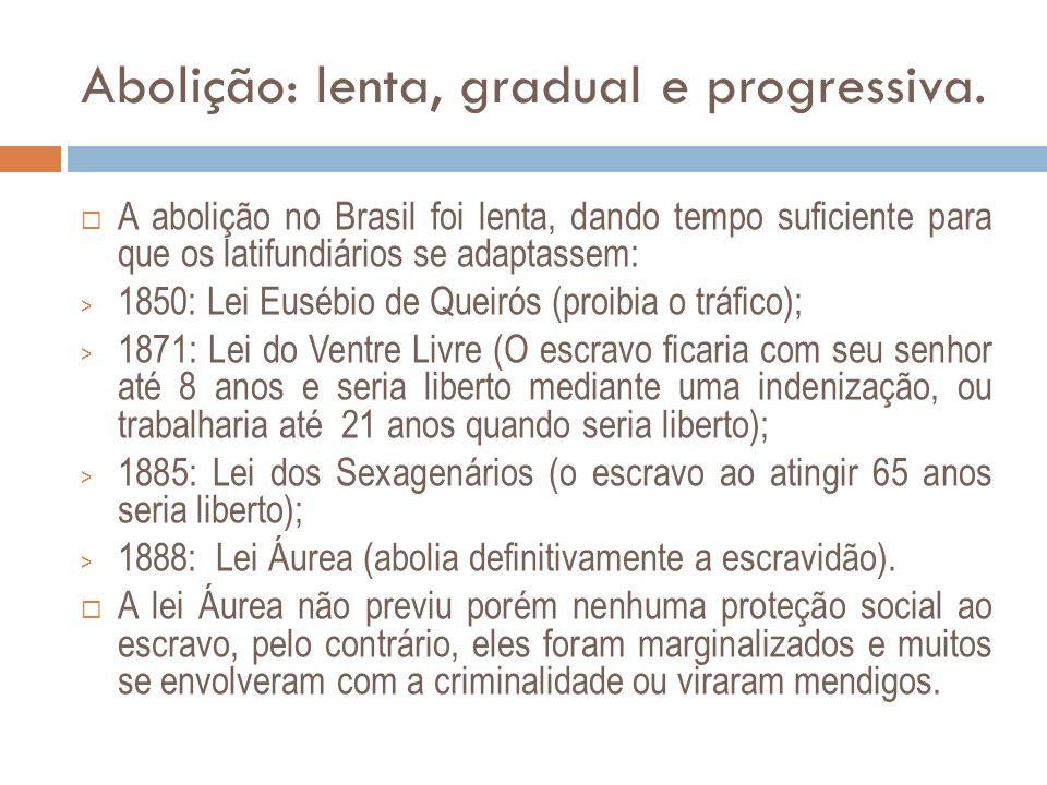 Abolição: lenta, gradual e progressiva. A abolição no Brasil foi lenta, dando tempo suficiente para que os latifundiários se adaptassem: > 1850: Lei E
