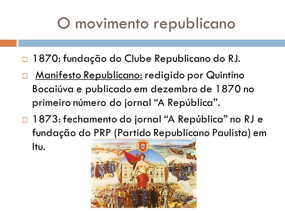 O movimento republicano 1870: fundação do Clube Republicano do RJ. Manifesto Republicano: redigido por Quintino Bocaiúva e publicado em dezembro de 18