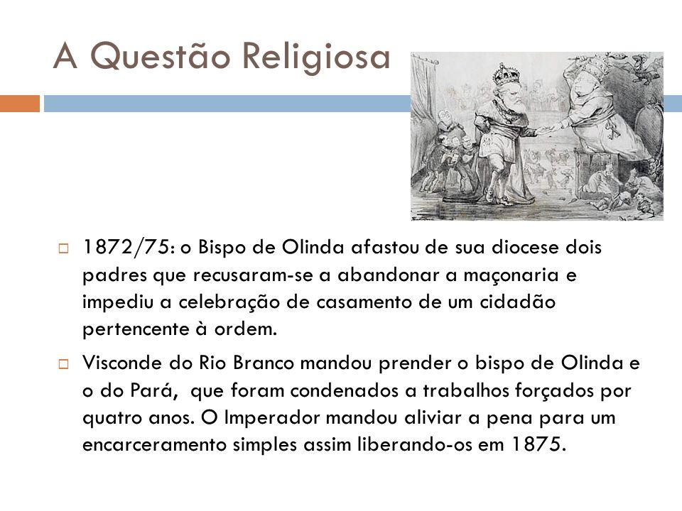 A Questão Religiosa 1872/75: o Bispo de Olinda afastou de sua diocese dois padres que recusaram-se a abandonar a maçonaria e impediu a celebração de c