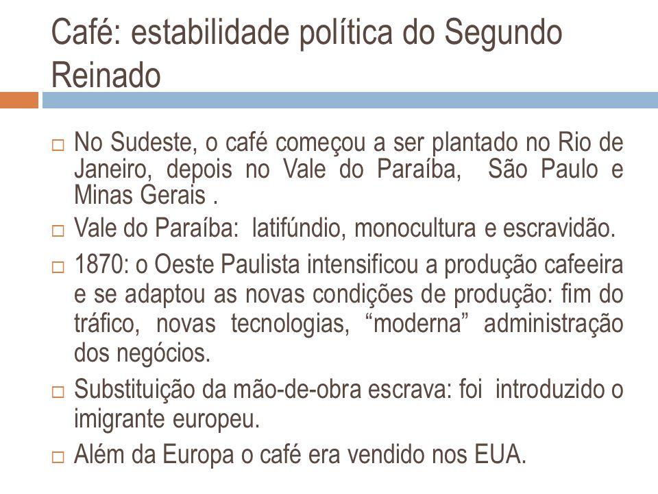 Café: estabilidade política do Segundo Reinado No Sudeste, o café começou a ser plantado no Rio de Janeiro, depois no Vale do Paraíba, São Paulo e Min