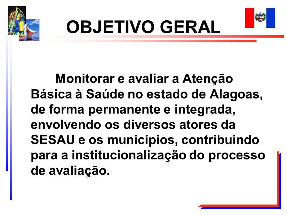 Monitorar e avaliar a Atenção Básica à Saúde no estado de Alagoas, de forma permanente e integrada, envolvendo os diversos atores da SESAU e os municí