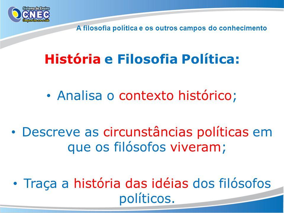 A filosofia política e os outros campos do conhecimento História e Filosofia Política: Analisa o contexto histórico; Descreve as circunstâncias políti