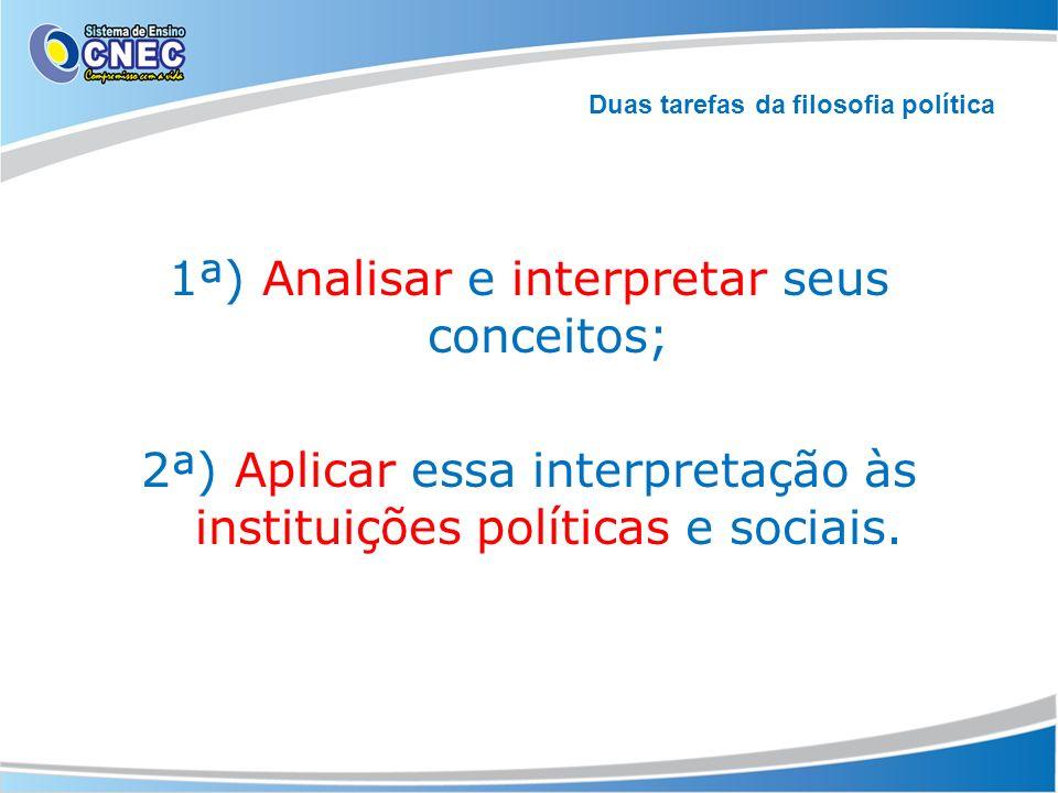1ª) Analisar e interpretar seus conceitos; 2ª) Aplicar essa interpretação às instituições políticas e sociais. Duas tarefas da filosofia política