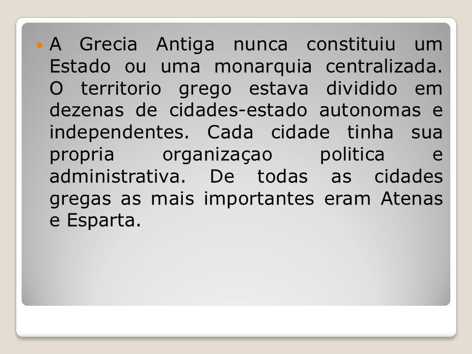 Atenas: Fundada pelos jônios Democrática Dinâmica Grande desenvolvimento das artes Contato com outros povos