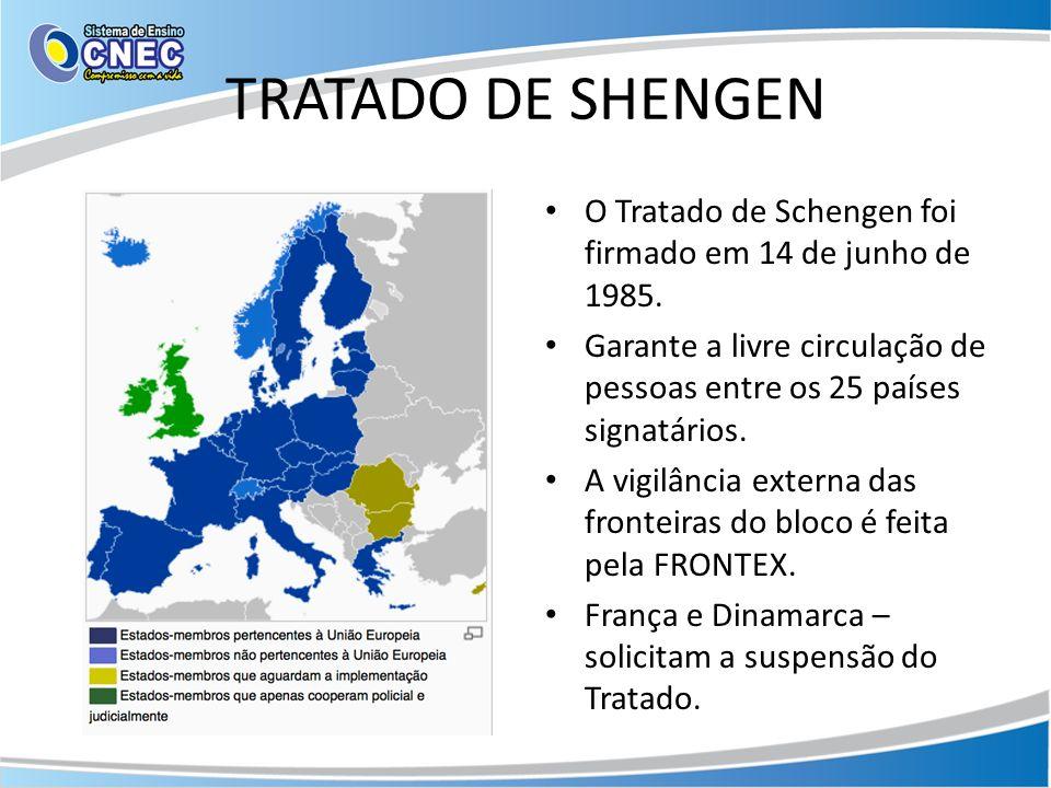 TRATADO DE SHENGEN O Tratado de Schengen foi firmado em 14 de junho de 1985. Garante a livre circulação de pessoas entre os 25 países signatários. A v