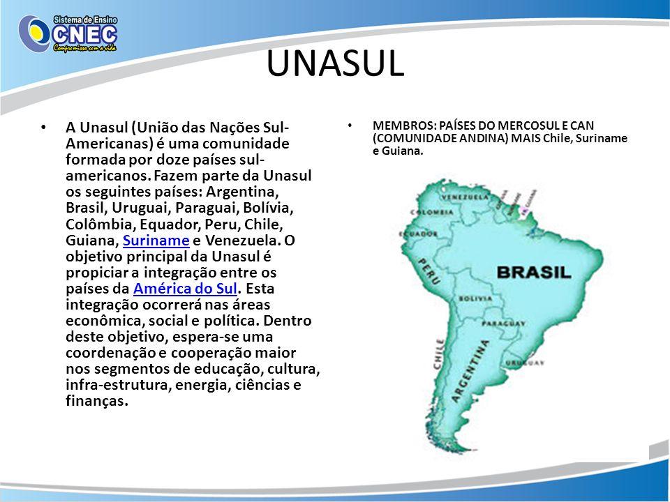 UNASUL A Unasul (União das Nações Sul- Americanas) é uma comunidade formada por doze países sul- americanos. Fazem parte da Unasul os seguintes países