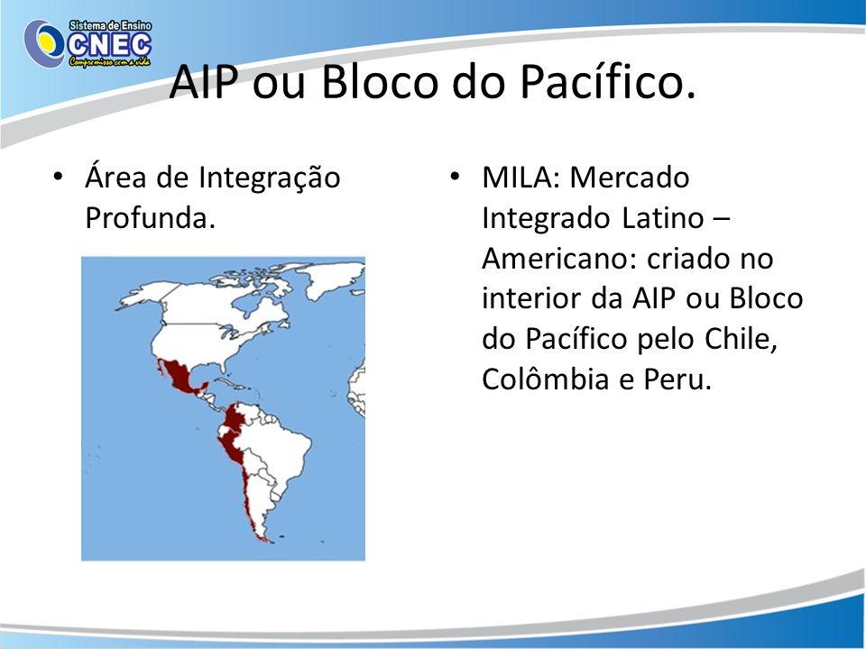 AIP ou Bloco do Pacífico. Área de Integração Profunda. MILA: Mercado Integrado Latino – Americano: criado no interior da AIP ou Bloco do Pacífico pelo