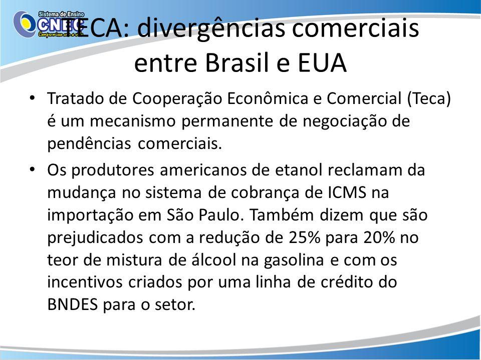 TECA: divergências comerciais entre Brasil e EUA Tratado de Cooperação Econômica e Comercial (Teca) é um mecanismo permanente de negociação de pendênc