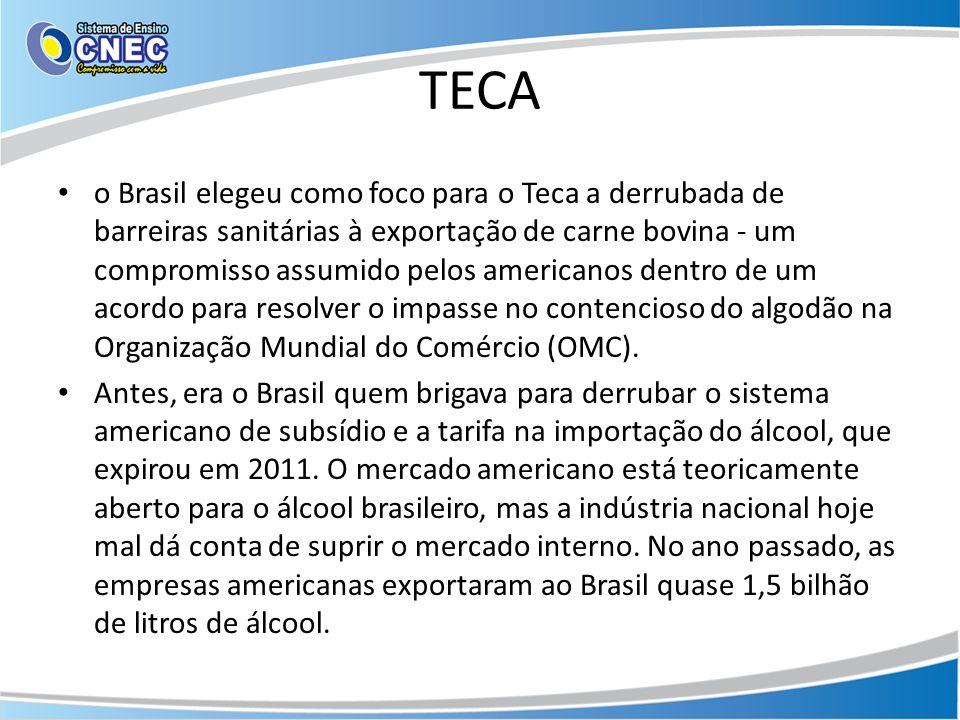 TECA o Brasil elegeu como foco para o Teca a derrubada de barreiras sanitárias à exportação de carne bovina - um compromisso assumido pelos americanos