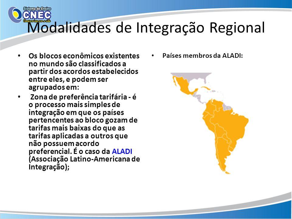 Integração Regional - modalidades Zona de livre comércio - reúne os países através de acordos comerciais que visam exclusivamente à redução ou eliminação de tarifas aduaneiras entre os países-membros do bloco.