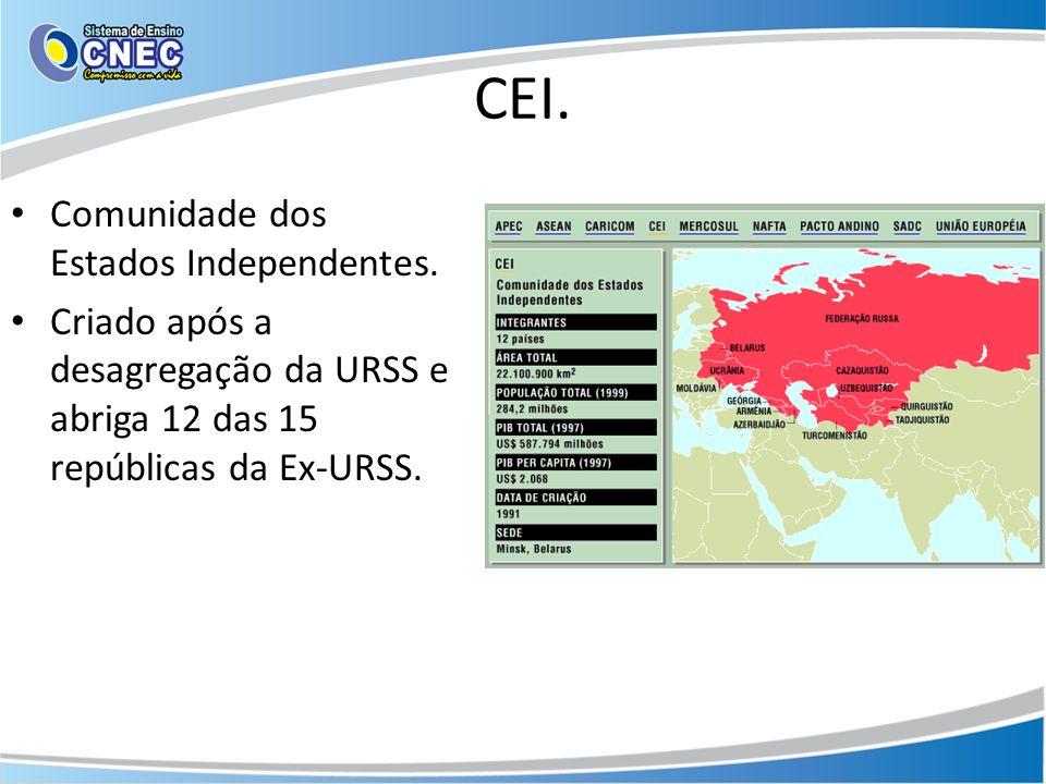 CEI. Comunidade dos Estados Independentes. Criado após a desagregação da URSS e abriga 12 das 15 repúblicas da Ex-URSS.