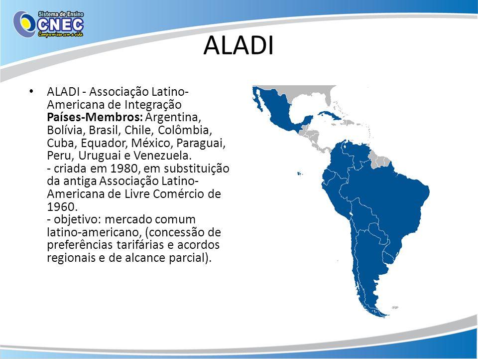 ALADI ALADI - Associação Latino- Americana de Integração Países-Membros: Argentina, Bolívia, Brasil, Chile, Colômbia, Cuba, Equador, México, Paraguai,