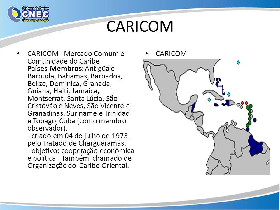 CARICOM CARICOM - Mercado Comum e Comunidade do Caribe Países-Membros: Antigüa e Barbuda, Bahamas, Barbados, Belize, Dominica, Granada, Guiana, Haiti,