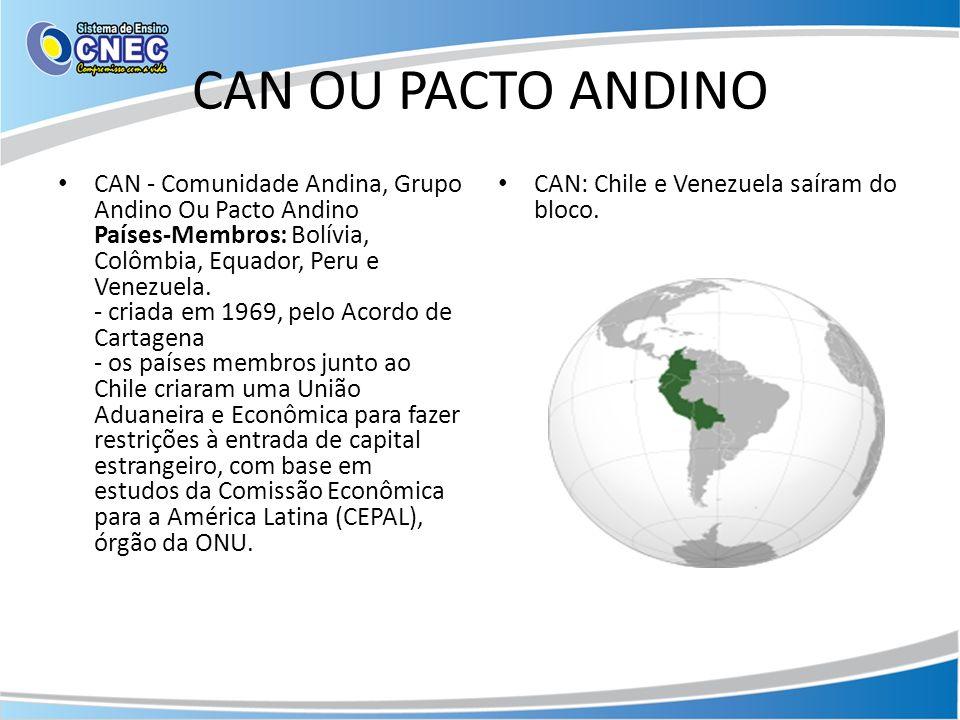CAN OU PACTO ANDINO CAN - Comunidade Andina, Grupo Andino Ou Pacto Andino Países-Membros: Bolívia, Colômbia, Equador, Peru e Venezuela. - criada em 19