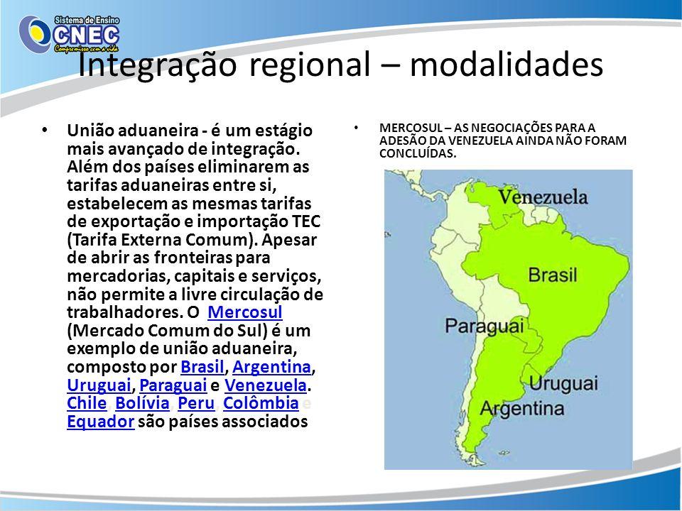 Integração regional – modalidades União aduaneira - é um estágio mais avançado de integração. Além dos países eliminarem as tarifas aduaneiras entre s