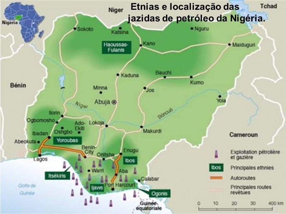 Etnias e localização das jazidas de petróleo da Nigéria.