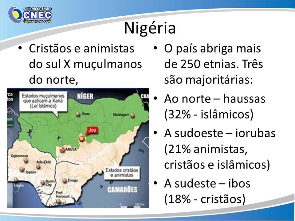 Nigéria Cristãos e animistas do sul X muçulmanos do norte, O país abriga mais de 250 etnias. Três são majoritárias: Ao norte – haussas (32% - islâmico