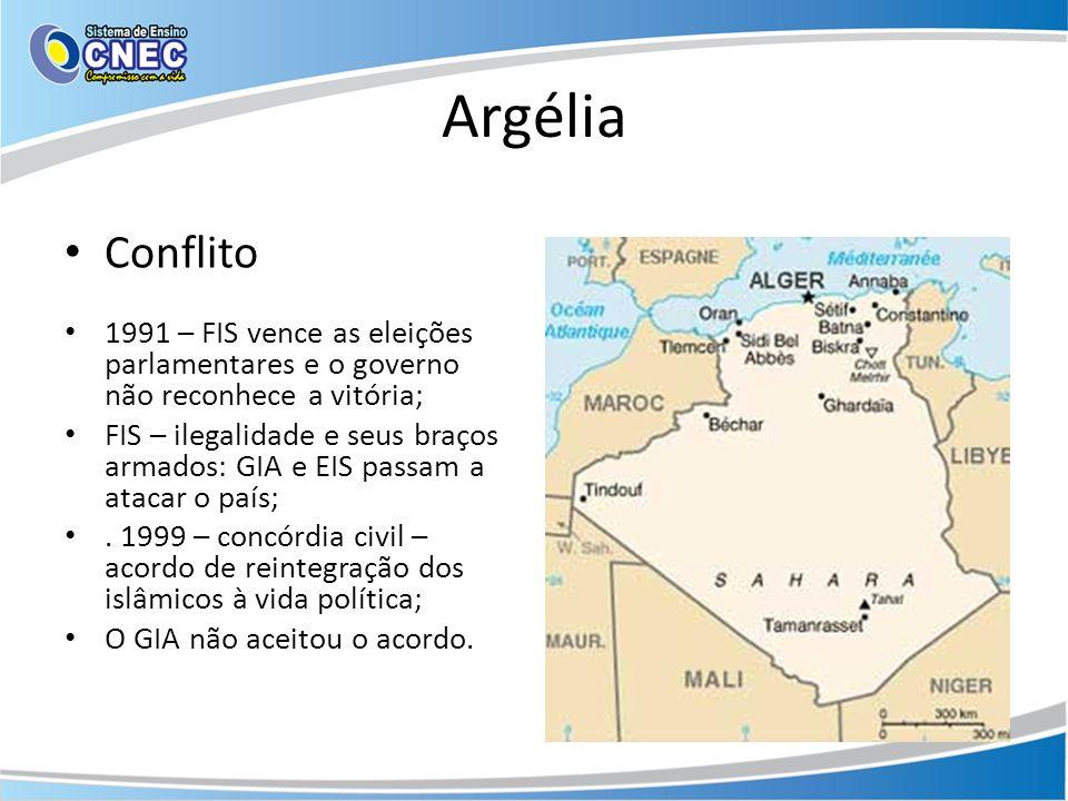 Argélia Conflito 1991 – FIS vence as eleições parlamentares e o governo não reconhece a vitória; FIS – ilegalidade e seus braços armados: GIA e EIS pa