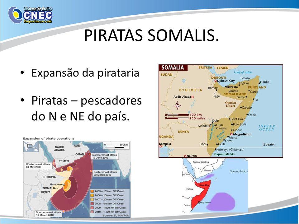 PIRATAS SOMALIS. Expansão da pirataria Piratas – pescadores do N e NE do país.
