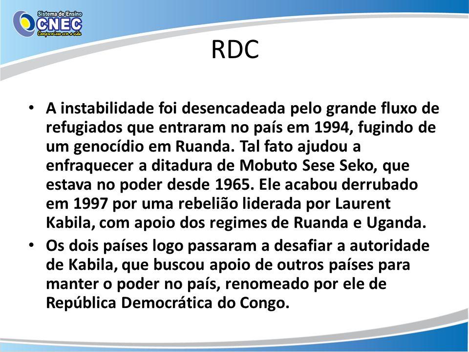 RDC A instabilidade foi desencadeada pelo grande fluxo de refugiados que entraram no país em 1994, fugindo de um genocídio em Ruanda. Tal fato ajudou