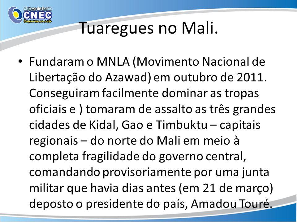 Tuaregues no Mali. Fundaram o MNLA (Movimento Nacional de Libertação do Azawad) em outubro de 2011. Conseguiram facilmente dominar as tropas oficiais
