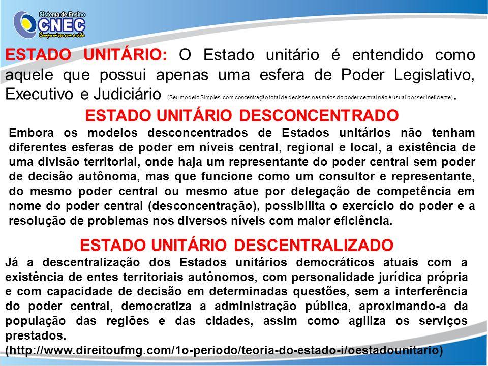 ESTADO UNITÁRIO: O Estado unitário é entendido como aquele que possui apenas uma esfera de Poder Legislativo, Executivo e Judiciário (Seu modelo Simpl