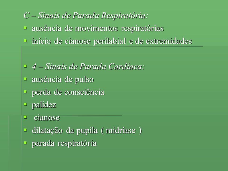 C – Sinais de Parada Respiratória: ausência de movimentos respiratórias ausência de movimentos respiratórias início de cianose perilabial e de extremi