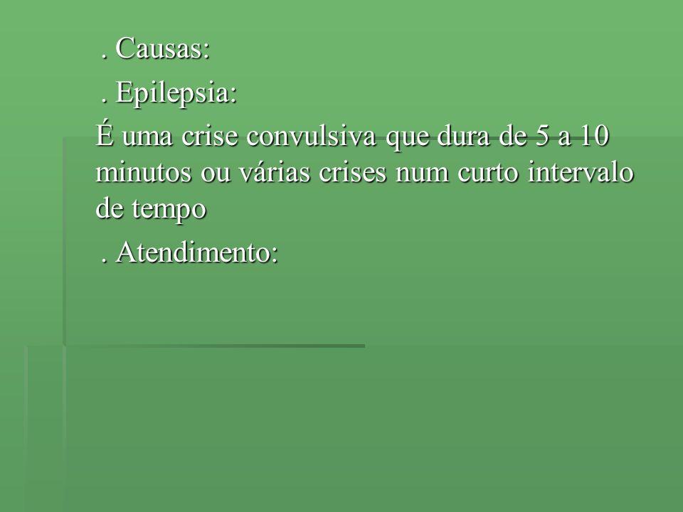 . Causas:. Causas:. Epilepsia:. Epilepsia: É uma crise convulsiva que dura de 5 a 10 minutos ou várias crises num curto intervalo de tempo. Atendiment