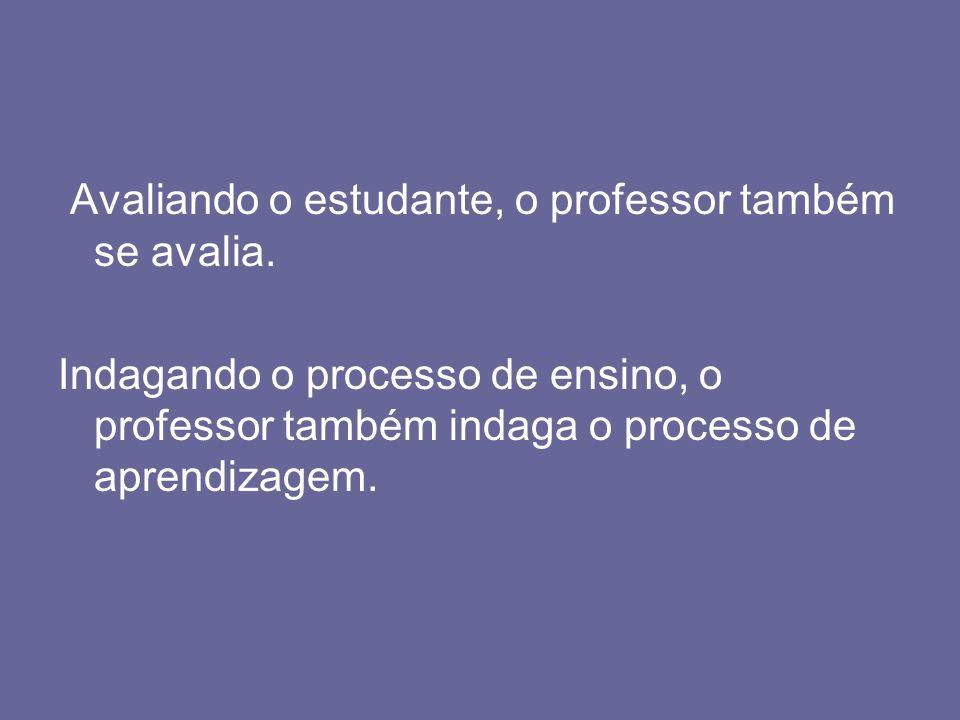 Avaliando o estudante, o professor também se avalia.