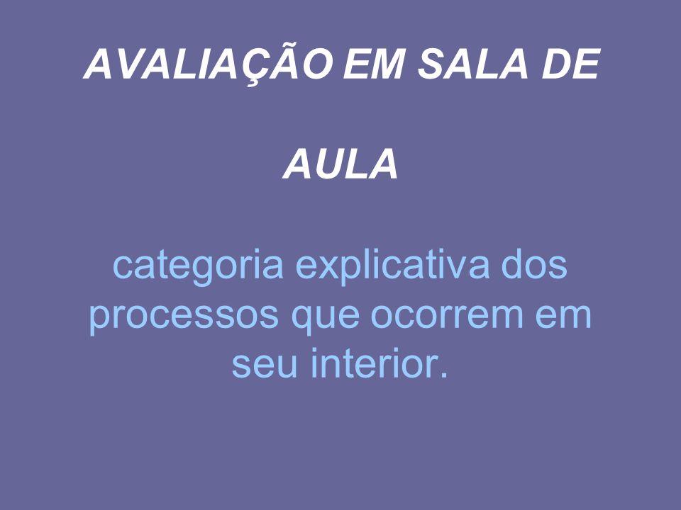 AVALIAÇÃO EM SALA DE AULA categoria explicativa dos processos que ocorrem em seu interior.