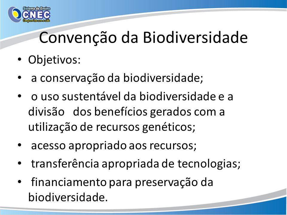 Convenção da Biodiversidade Objetivos: a conservação da biodiversidade; o uso sustentável da biodiversidade e a divisão dos benefícios gerados com a u