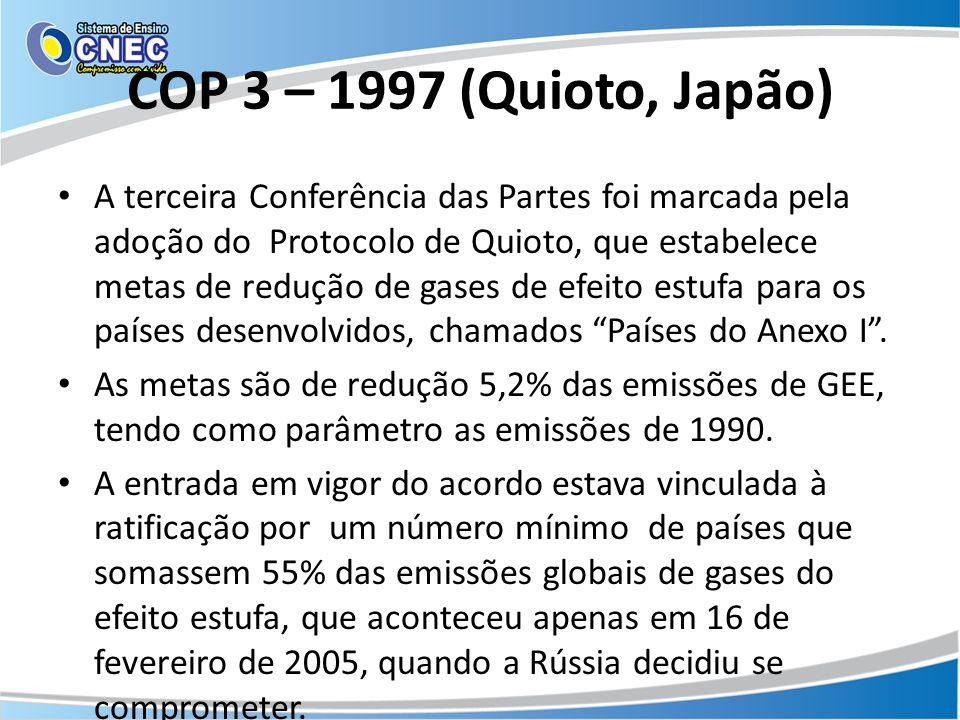 COP 3 – 1997 (Quioto, Japão) A terceira Conferência das Partes foi marcada pela adoção do Protocolo de Quioto, que estabelece metas de redução de gase