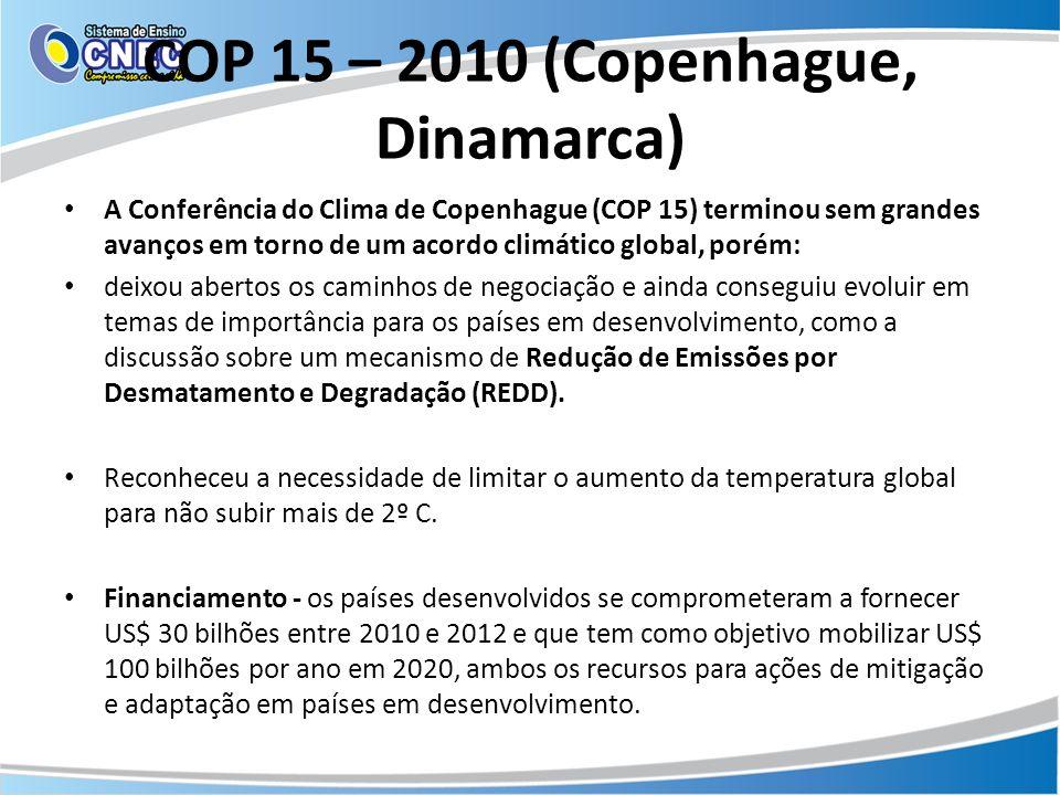 COP 15 – 2010 (Copenhague, Dinamarca) A Conferência do Clima de Copenhague (COP 15) terminou sem grandes avanços em torno de um acordo climático globa