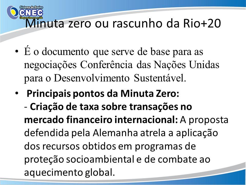 Minuta zero ou rascunho da Rio+20 É o documento que serve de base para as negociações Conferência das Nações Unidas para o Desenvolvimento Sustentável