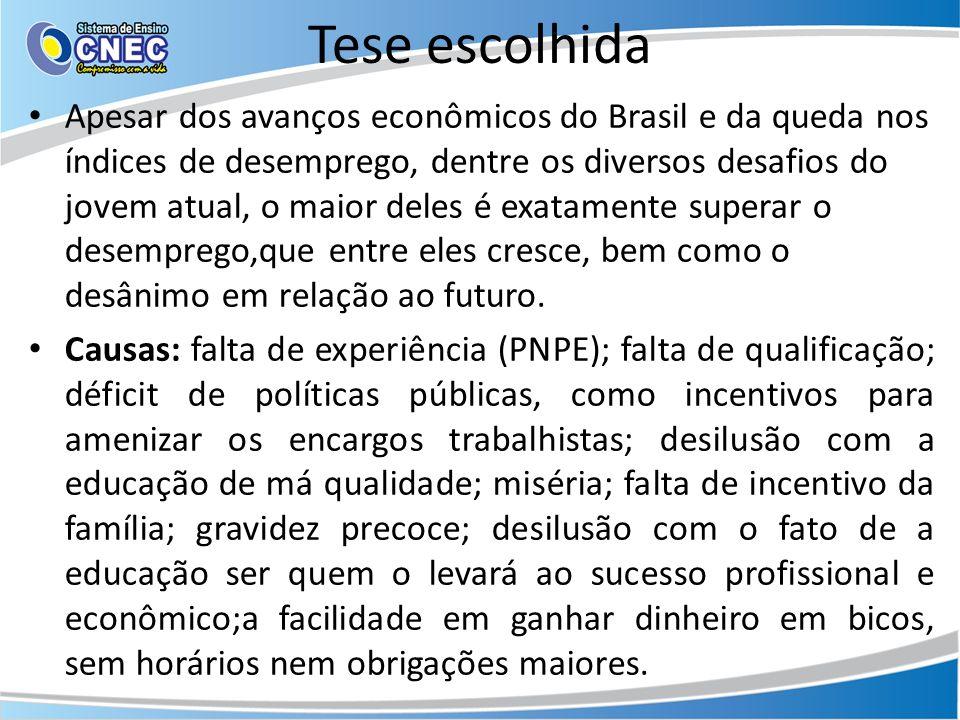 Tese escolhida Apesar dos avanços econômicos do Brasil e da queda nos índices de desemprego, dentre os diversos desafios do jovem atual, o maior deles