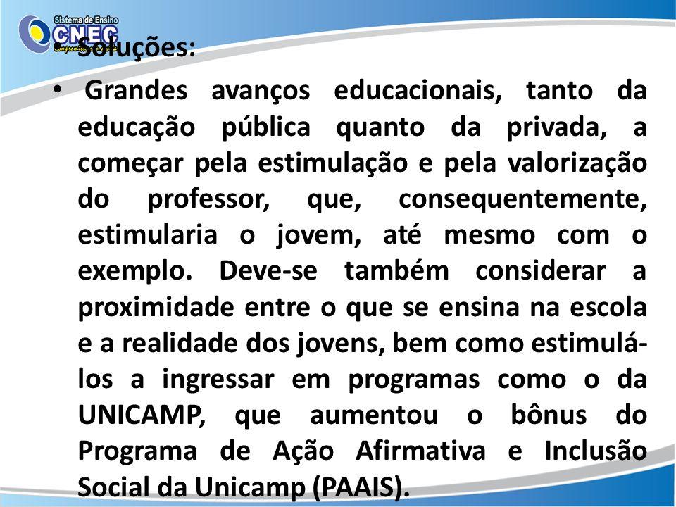 Soluções: Grandes avanços educacionais, tanto da educação pública quanto da privada, a começar pela estimulação e pela valorização do professor, que,