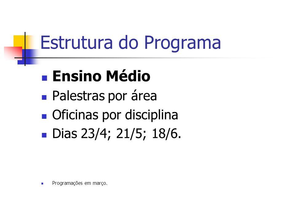 Estrutura do Programa Ensino Médio Palestras por área Oficinas por disciplina Dias 23/4; 21/5; 18/6.