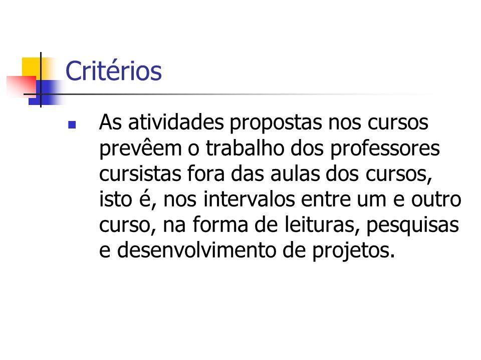 Critérios As atividades propostas nos cursos prevêem o trabalho dos professores cursistas fora das aulas dos cursos, isto é, nos intervalos entre um e outro curso, na forma de leituras, pesquisas e desenvolvimento de projetos.