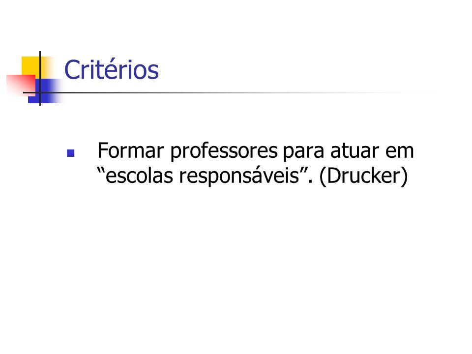 Critérios Formar professores para atuar em escolas responsáveis. (Drucker)