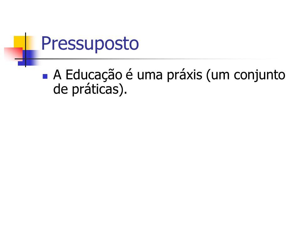 Pressuposto A Educação é uma práxis (um conjunto de práticas).