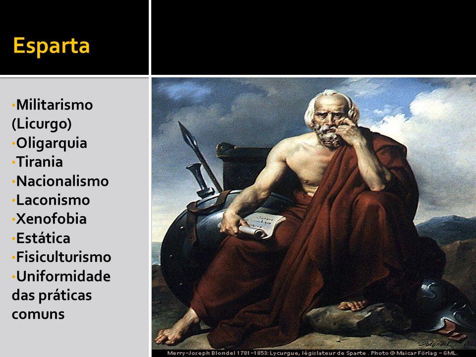 Esparta Militarismo (Licurgo) Oligarquia Tirania Nacionalismo Laconismo Xenofobia Estática Fisiculturismo Uniformidade das práticas comuns