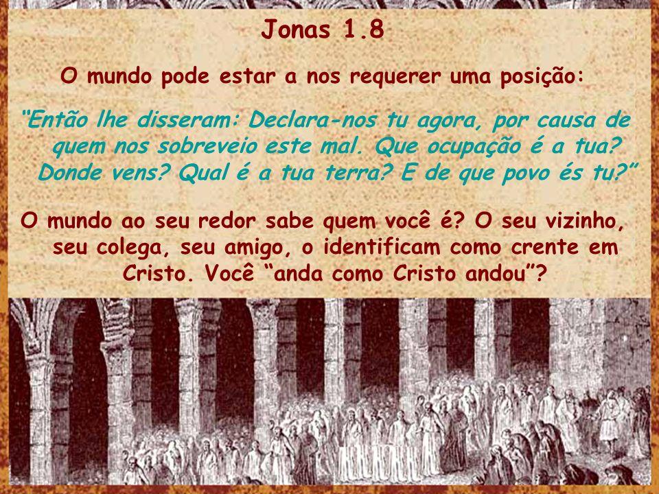 Jonas 1.8 O mundo pode estar a nos requerer uma posição: Então lhe disseram: Declara-nos tu agora, por causa de quem nos sobreveio este mal. Que ocupa