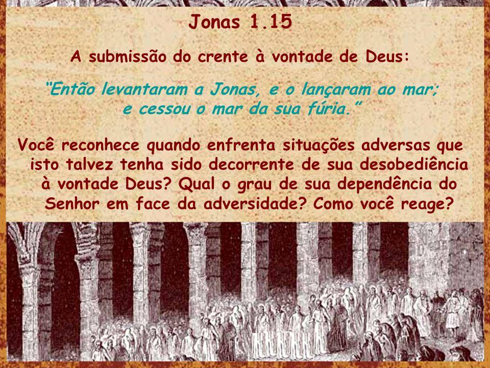 Jonas 1.15 A submissão do crente à vontade de Deus: Então levantaram a Jonas, e o lançaram ao mar; e cessou o mar da sua fúria. Você reconhece quando