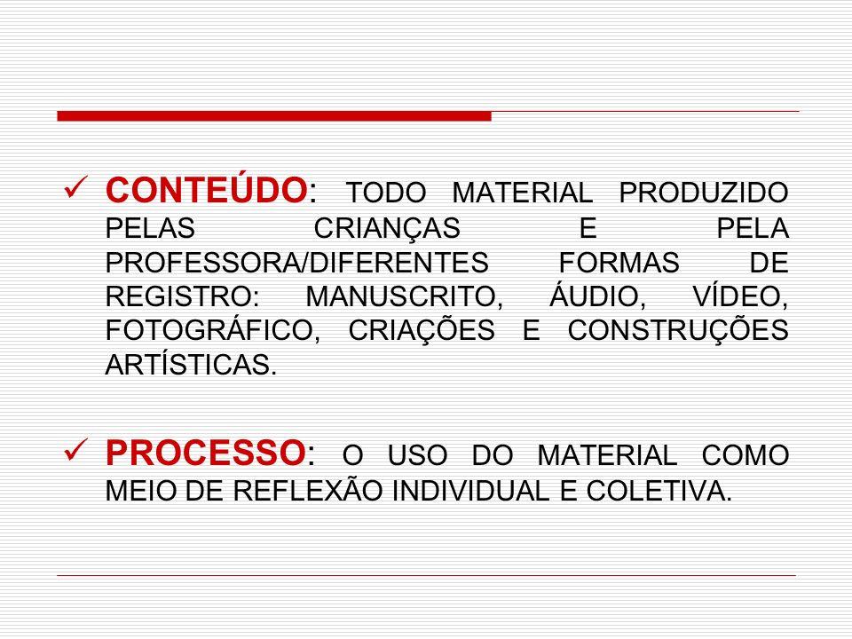 CONTEÚDO: TODO MATERIAL PRODUZIDO PELAS CRIANÇAS E PELA PROFESSORA/DIFERENTES FORMAS DE REGISTRO: MANUSCRITO, ÁUDIO, VÍDEO, FOTOGRÁFICO, CRIAÇÕES E CO