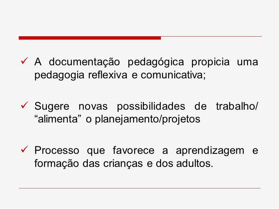 A documentação pedagógica propicia uma pedagogia reflexiva e comunicativa; Sugere novas possibilidades de trabalho/ alimenta o planejamento/projetos P