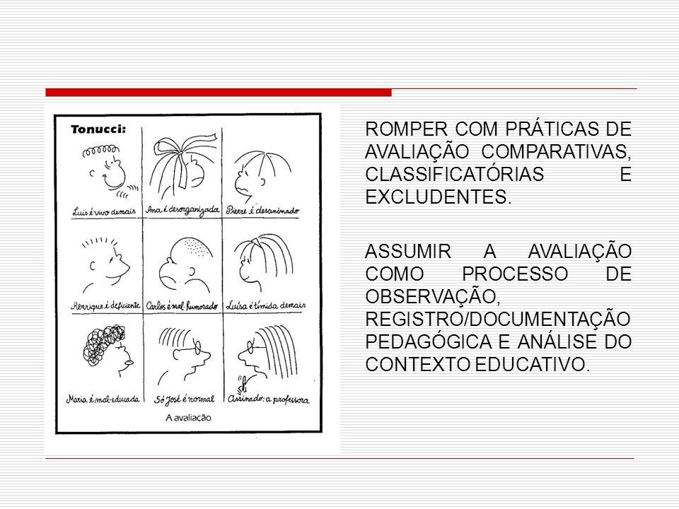 ROMPER COM PRÁTICAS DE AVALIAÇÃO COMPARATIVAS, CLASSIFICATÓRIAS E EXCLUDENTES. ASSUMIR A AVALIAÇÃO COMO PROCESSO DE OBSERVAÇÃO, REGISTRO/DOCUMENTAÇÃO