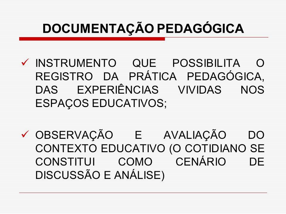 DOCUMENTAÇÃO PEDAGÓGICA INSTRUMENTO QUE POSSIBILITA O REGISTRO DA PRÁTICA PEDAGÓGICA, DAS EXPERIÊNCIAS VIVIDAS NOS ESPAÇOS EDUCATIVOS; OBSERVAÇÃO E AV