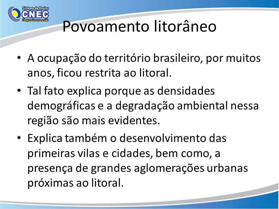 Povoamento litorâneo A ocupação do território brasileiro, por muitos anos, ficou restrita ao litoral. Tal fato explica porque as densidades demográfic