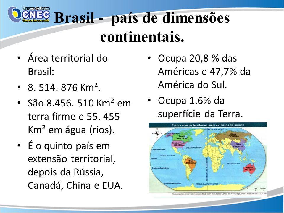 Brasil - país de dimensões continentais. Área territorial do Brasil: 8. 514. 876 Km². São 8.456. 510 Km² em terra firme e 55. 455 Km² em água (rios).